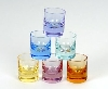 "Diminutive shot glasses (only 1.5"" high, holding only 1/2 oz.) of Moser crystal. Set of 6 in colors shown."