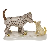 """5"""" long by 3.5"""" high.  Also available in Blue Dog/Raspberry Cat, Blue Dog/Green Cat, Black Dog/Rust Cat, Chocolate Dog/Black Cat, and Butterscotch Dog/Black Cat."""