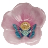 "2.5"" long by 3"" high.  Also available in Rust, Butterscotch or Raspberry Butterfly on Blue Flower;  Blue Butterfly on Pink Flower; or Chocolate Butterfly on Yellow Flower."