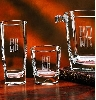 Glass hiballs etched with couple's initials. Left.