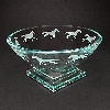 """13"""" glass bowl etched with running horses."""